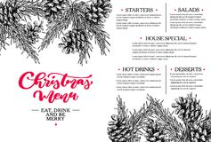Christmas menu. Restaurant and cafe template. Vector hand drawn illustration with fir tree, evergreen. Christmas menu.  Restaurant and cafe template. Vector hand Stock Image