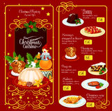 Christmas menu template for restaurant design. Christmas festive menu template design. British flaming pudding, baked fish, sausages in bacon, sweet bread Stock Photos
