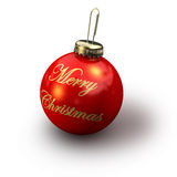 Christmas Merry. 3d rendering of golden merry christmas text on a christmas glitter ball Stock Photo