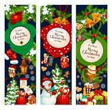 Christmas merry holidays vector greeting banners Stock Photo