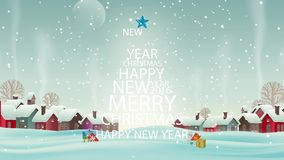 Christmas. Merry Christmas Tree snow animation stock footage