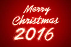 Christmas. Merry christmas 2016 written with Sparkle firework on red background Royalty Free Illustration
