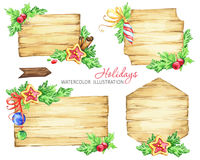 Christmas message boards with fir branches and toys. Watercolor wooden banner background. Christmas message boards with fir branches and toys Royalty Free Stock Images