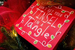 Christmas message on tree - closeup Stock Images