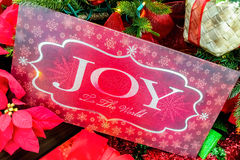 Christmas message on tree - closeup Royalty Free Stock Photography