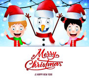 Christmas Message on White Background with Smiling Kids and Snowman Stock Photo