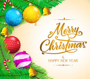 Christmas Messages and Colorful objects on Gradient Background Vector Illustration Royalty Free Stock Photography