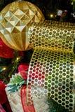 Christmas metallic ribbon royalty free stock photos
