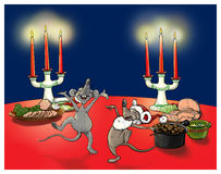 Christmas mice. When the cats away the mice will play Stock Photography
