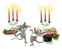 Christmas mice. When the cat's away the mice will play Royalty Free Stock Photography