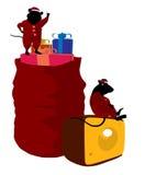 Christmas Mice Art Illustration Stock Photos