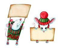 Free Christmas Mice In Knitted Clothes With Banners Royalty Free Stock Images - 185563639