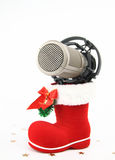 Christmas microphone Stock Images