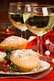 Christmas Mince Pies With Holly Stock Photo