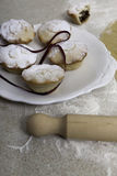 Christmas mince pies with red ribbon Stock Photography