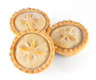 Christmas mince pies on a white background stock photos