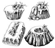 Hand drawn sketch of Traditional x-mas food, cake. Christmas illustration with traditional pudding. Christmas mini cake with sugar. Christmas mini cake with Stock Image