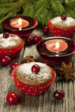 Christmas mini cakes with berries Stock Image
