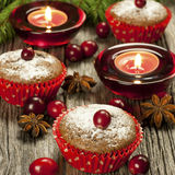 Christmas mini cakes with berries Stock Photography