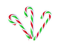 Christmas Mint cane candy close up on white.  Stock Images