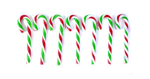 Christmas Mint cane candy close up on white.  Royalty Free Stock Photo