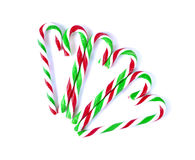 Christmas Mint cane candy close up on white.  Stock Image