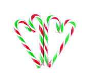 Christmas Mint cane candy close up on white.  Royalty Free Stock Image