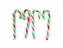 Christmas Mint cane candy close up on white.  Stock Photos