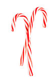 Christmas Mint hard candy cane striped isolated on a white backg Royalty Free Stock Photos