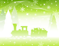 Christmas miracle. Christmas train with gifts. Vector illustration Royalty Free Stock Image
