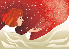 Christmas. Miracle expectation. Magic of Christmas. Vector Illustration of a beautiful woman and snowflakes Stock Image