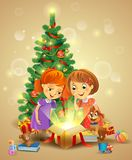 Christmas miracle - girls opening a magic gift beside vector illustration