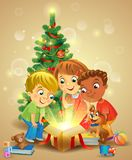 Christmas miracle - kids opening a magic gift beside vector illustration