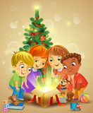 Christmas miracle - kids opening a magic gift beside stock illustration
