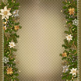 Christmas miraculous garland on vintage background Royalty Free Stock Photos