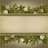 Christmas miraculous garland on vintage background Stock Image