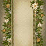 Christmas miraculous garland on vintage background Royalty Free Stock Photography