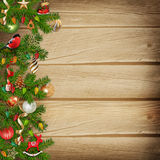 Christmas miraculous garland on a wooden background Stock Photography