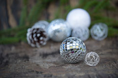 Christmas Mirror balls on wooden background Stock Photography