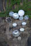 Christmas Mirror balls on wooden background Royalty Free Stock Photo