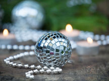 Christmas Mirror balls on wooden background Royalty Free Stock Images
