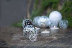 Christmas Mirror balls on wooden background Stock Image