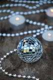 Christmas Mirror balls on wooden background Royalty Free Stock Photography