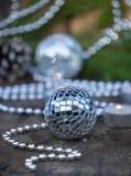 Christmas Mirror balls on wooden background Royalty Free Stock Photos