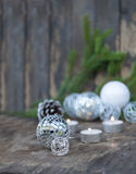 Christmas Mirror balls on wooden background Royalty Free Stock Photos