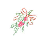 Christmas, mistletoe, branch, isolated, over, white, background, sketch, vector illustration Royalty Free Stock Photo