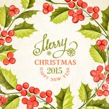 Christmas mistletoe card. Christmas mistletoe card with template text. Vector illustration Royalty Free Stock Photos