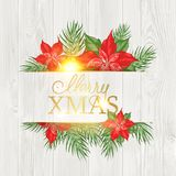 Christmas mistletoe frame drawing with holiday text on the wooden background. royalty free stock photos