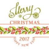 Christmas mistletoe holiday card. Christmas mistletoe holiday card with text. Happy new year 2017. Christmas flower frame. Gold text typography. Vector Stock Image