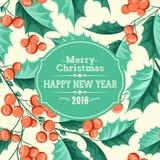 Christmas mistletoe holiday card Stock Image